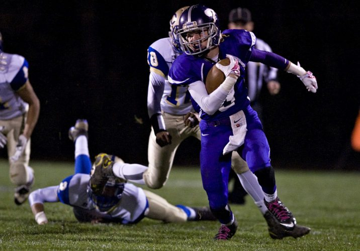 Strasburg's Trevin Howard carries the ball on a punt return against Central on October 30. The Rams travel to Robert E. Lee (Staunton) tonight for the first round of the Group 2A East playoffs.  Rich Cooley/Daily